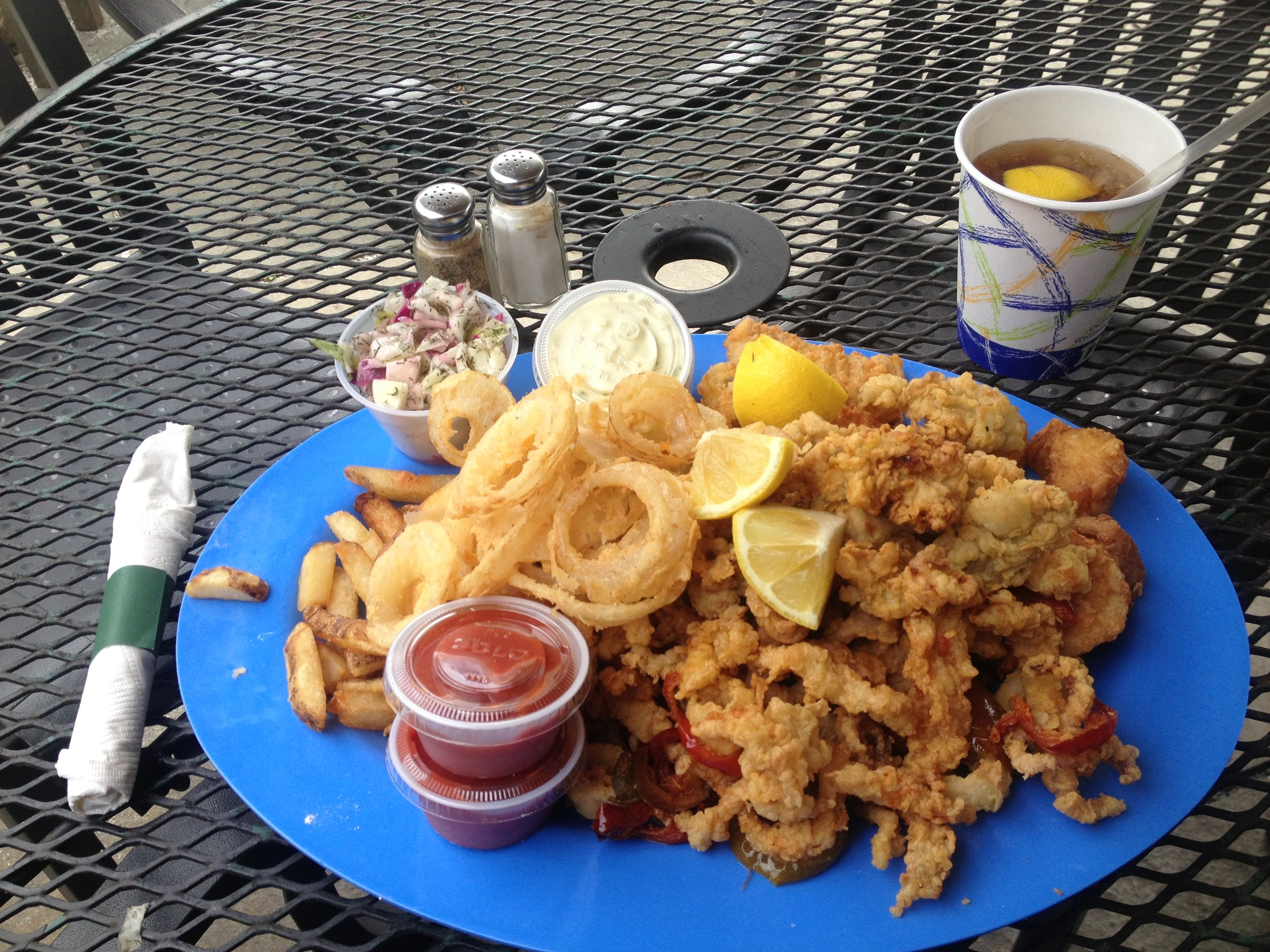 FRIED PLATTERS - All platters are hand battered and fried to order. Served with our sea salted fries and signature cabbage salad.
