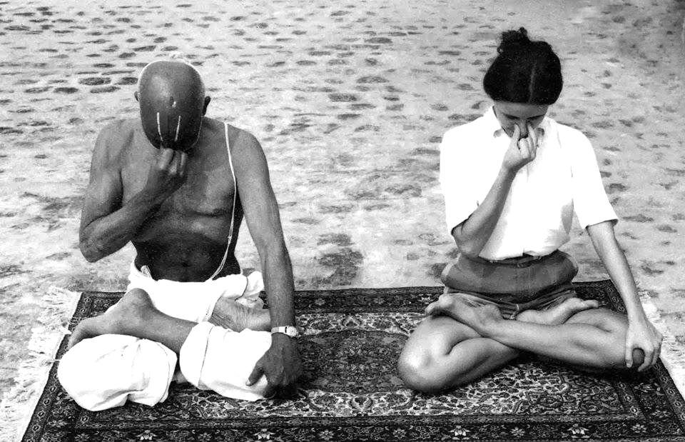 Krishnamacharya practicing pranayama