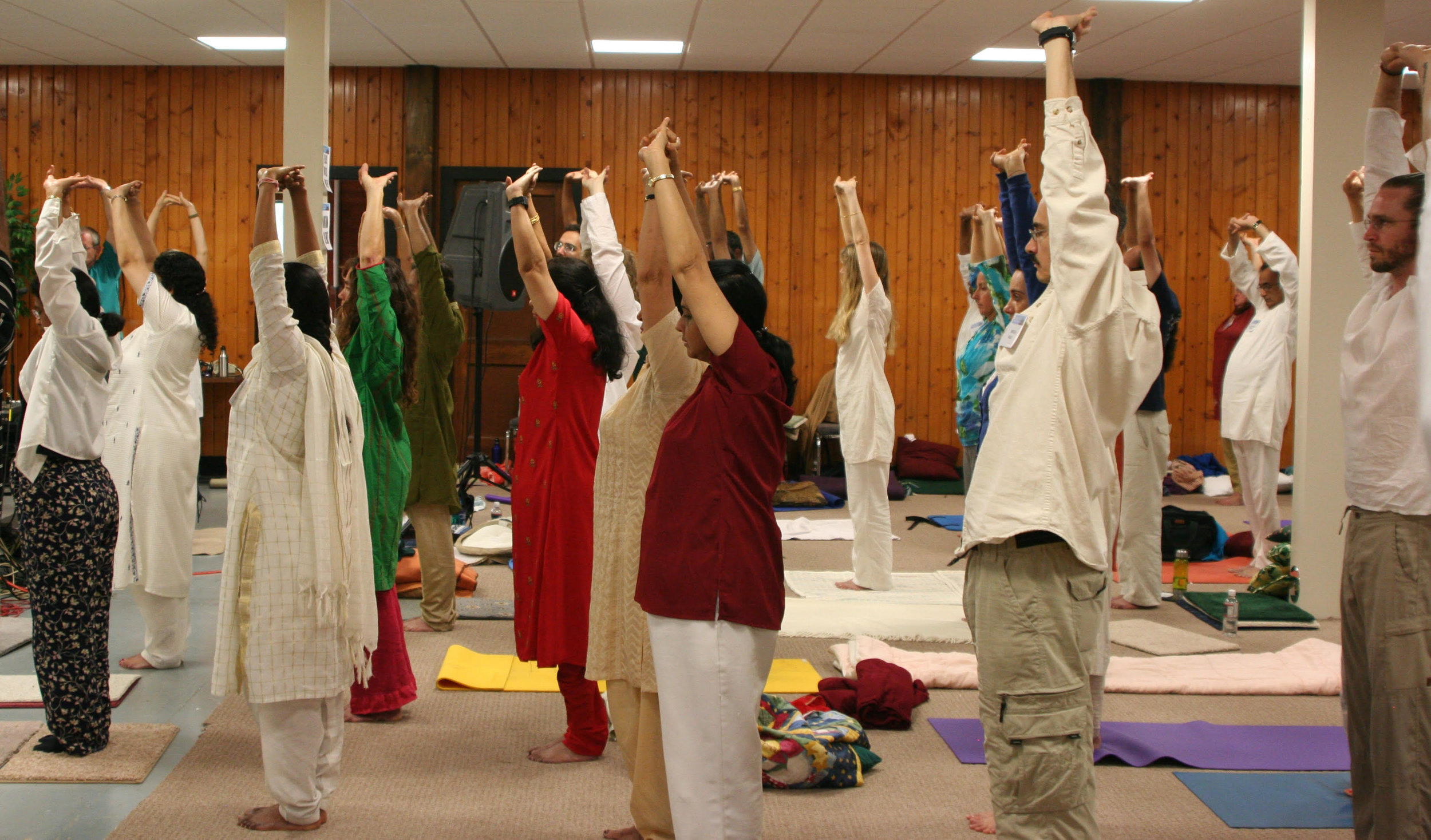 Pam teaching prana circuit at New Vrindaban temple, West Virginia, 2009