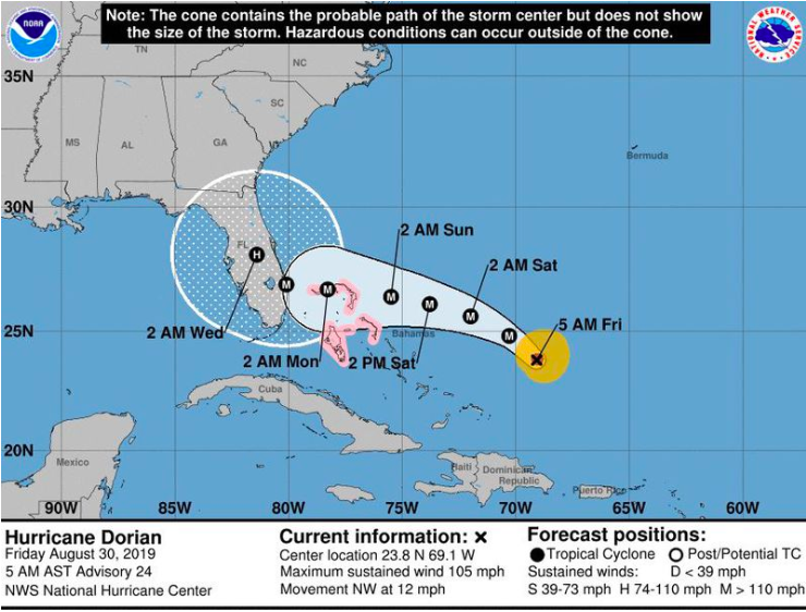 As we continue to monitor the status of Hurricane Dorian and how it may affect South Florida we have decided it is best to  cancel this Sunday's worship service.   If you, or anyone you know (family, neighbors etc.)  need help  in preparing, please let us know via email or direct message. We will likely have people who would love to come help in anyway we can and the same holds true after the storm should it hit us.   Be praying  for those who this will impact – our state, our nation, the Caribbean, first responders, neighbors, elderly, kids, etc. Whether or not the storm hits us it is hitting somewhere, and they could use our prayers. Be praying for workers at hardware and department stores, gas stations, and wholesale retailers as they are already starting to be overrun with people looking to prepare.  Please, let us know any ways we can serve you, pray for you or help you in any way.