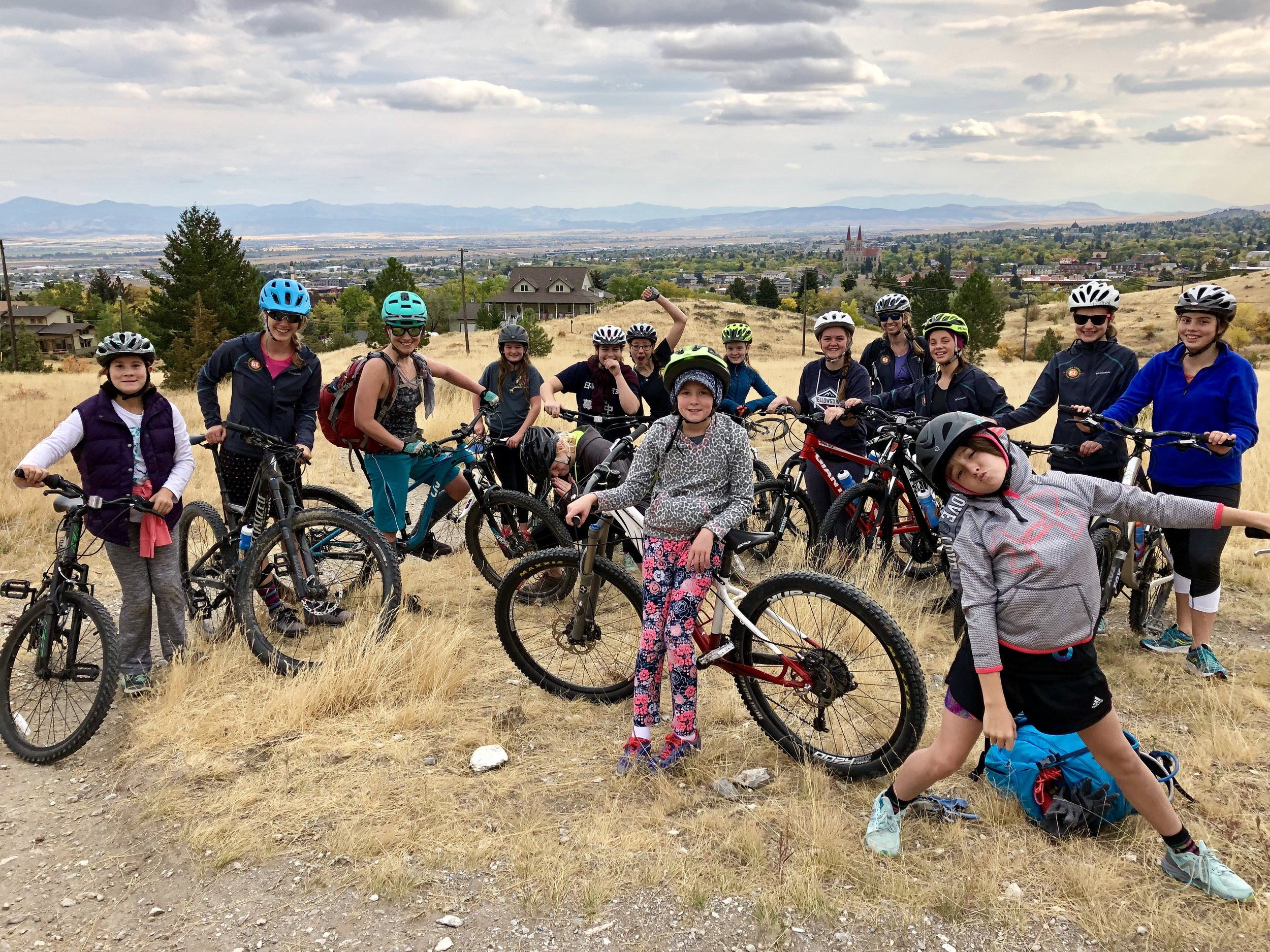 Getting ready for mountain bike practice on Mt. Helena.