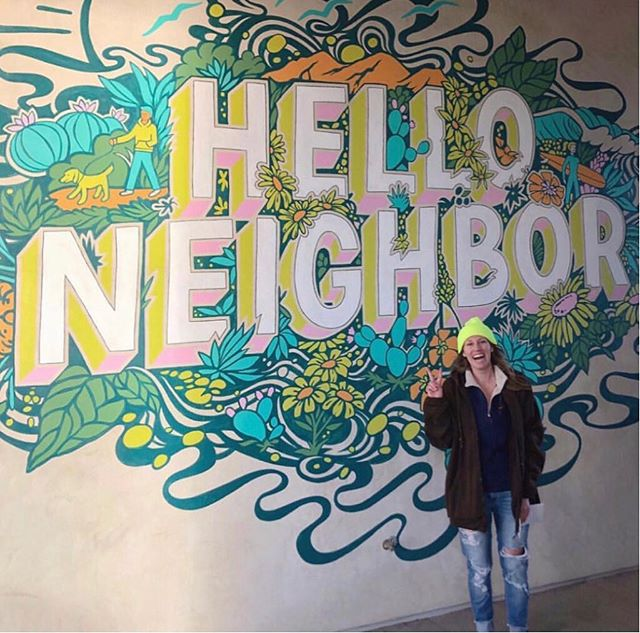 "Won't you be my neighbor?  Our client @mergecarmelvalley had a wall (right outside of the new @copa_vida) begging for art. Since it's the local's spot in #carmelvalley, we wanted to reflect and welcome the neighborhood.  What's warmer than ""hello neighbor""?? @channinfulton totally got the vision and brought it lo life! 👏🏻 Pc + artist: Channin Fulton . . . . .  #walltraveled #mural #ladieswhopaint #thatsdarling #muralart #muralsdaily #muralhunter #quote #sdart #sandiego #sandiegobloggers #sdblogger #mrrogersneighborhood"
