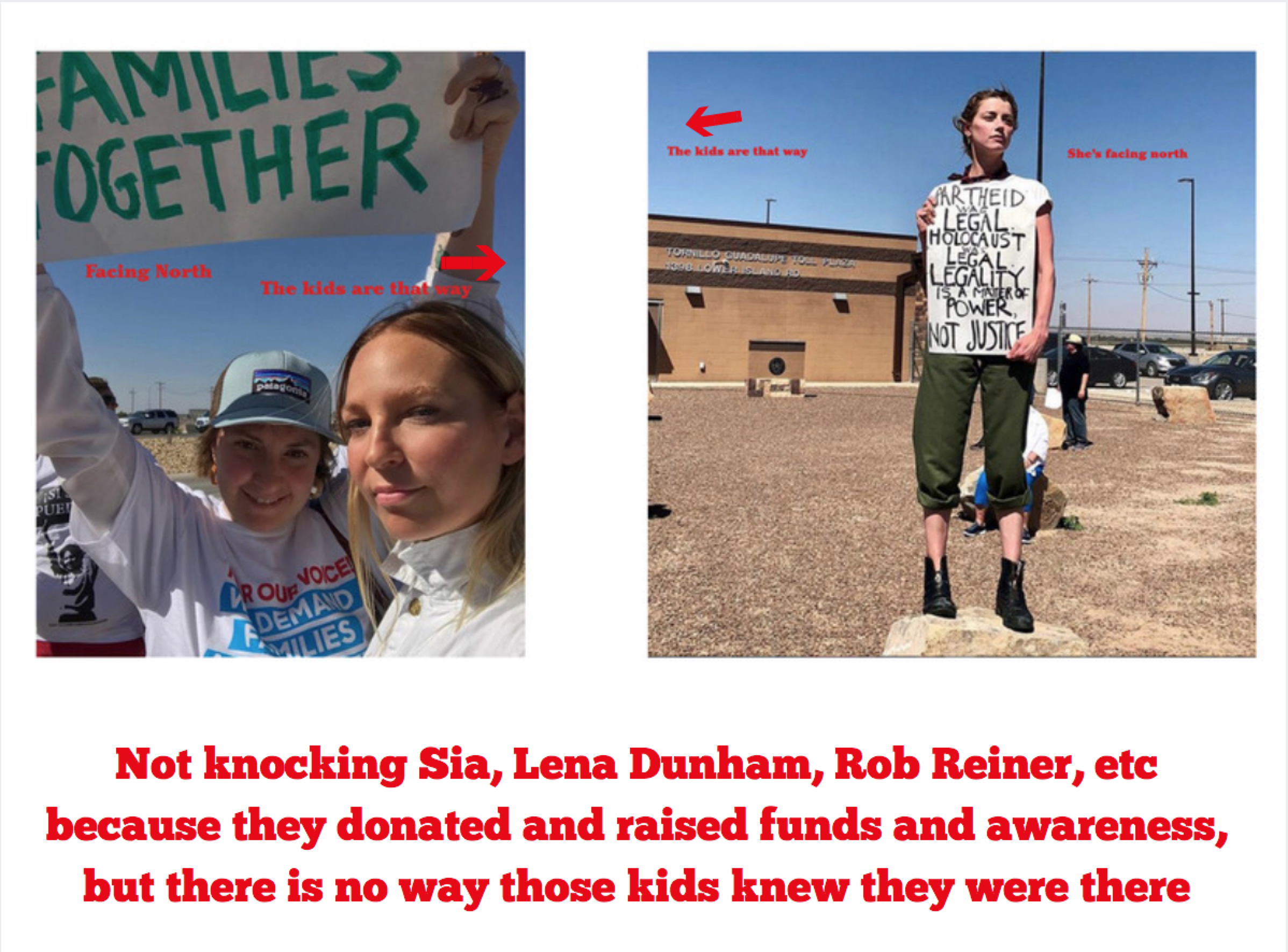 Amber Heard is seen in the second photo. She's from Austin and she used to be a lesbian before she married Johnny Depp and dated Elon Musk. And her protest outfit is PERFECT. Congrats to her stylist. Except she has her back to the kids and her sign is in English. But again, not knocking anybody.
