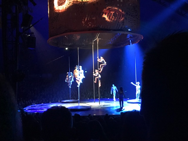 Pole dancers at Luzia by Cirque Du Soleil in Costa Mesa, CA. Look closely and you may see Floyd Mayweather in the front with a wad of cash.