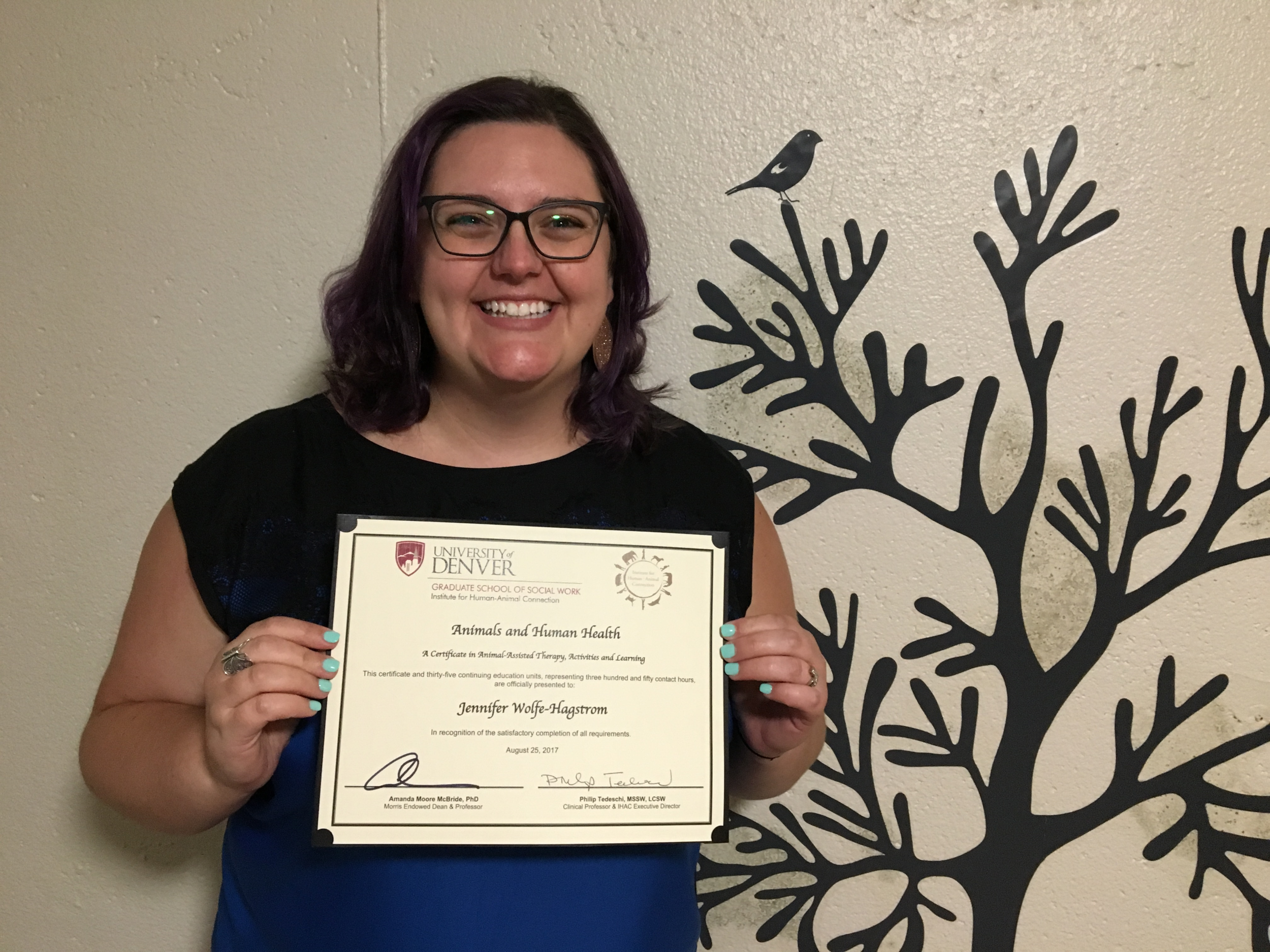 Jennifer earned her certificate in Animals and Human Health from the University of Denver in August 2017