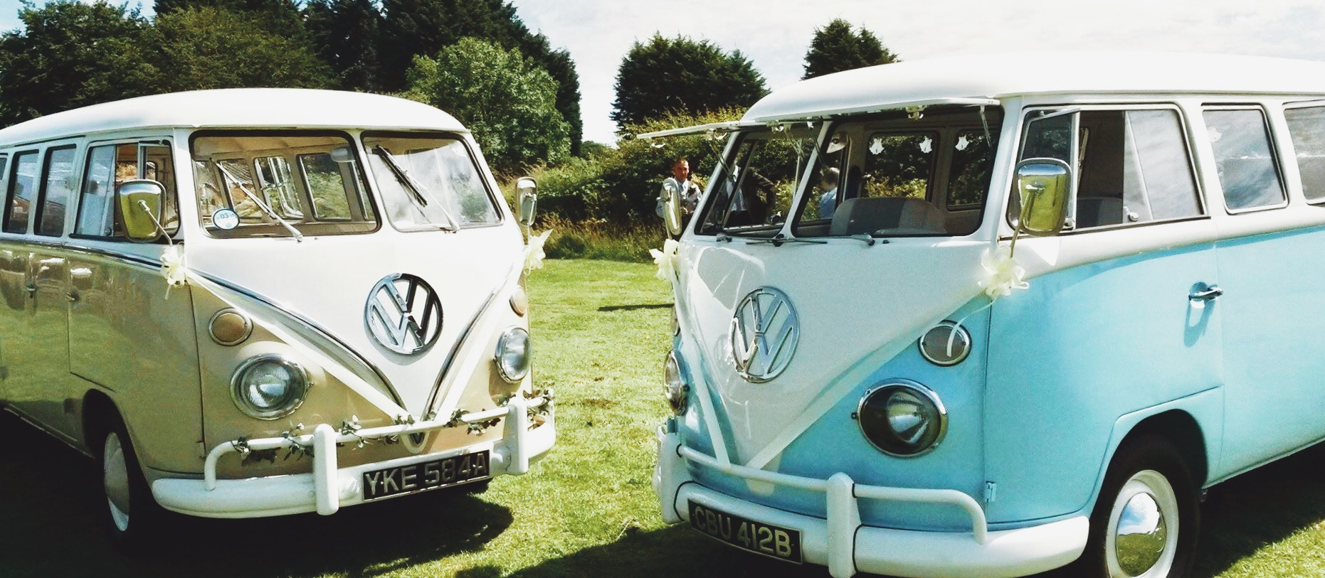 Arthur and Tiffany , our cherished VW split screen camper vans available for hire across Lancashire