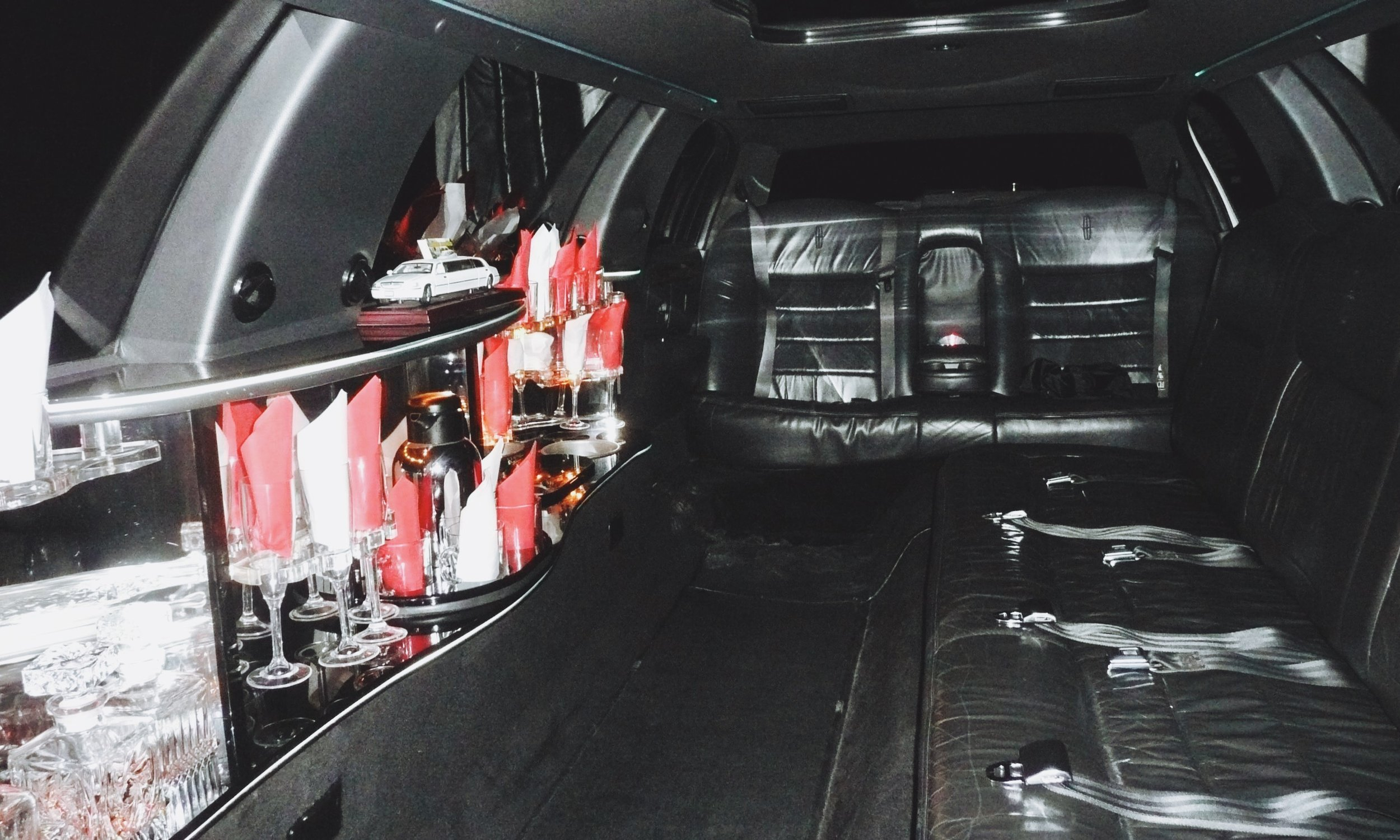 The luxury leather interior of our Lincoln limousine can seat up to 8 passengers