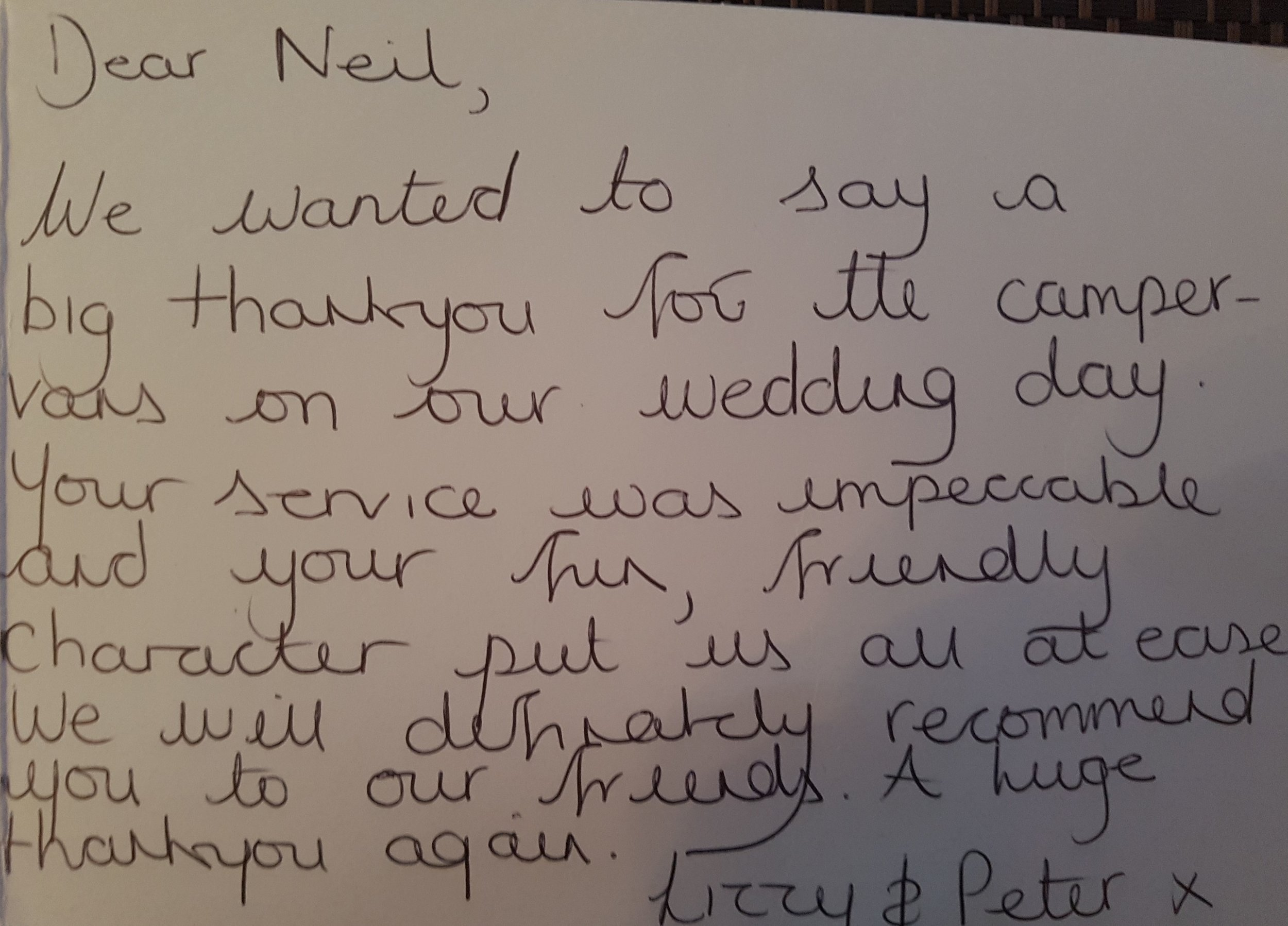 Thank you - Receiving cards like this from happy couples makes us all the more happy to be a part of your day, we're so glad you enjoyed the comfort and charm of the Campervans (and their drivers) and hope you had a fantastic day.We wish you both a very happy future together.