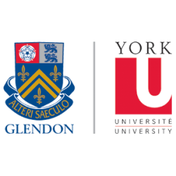 The logos of Glendon College and York University.