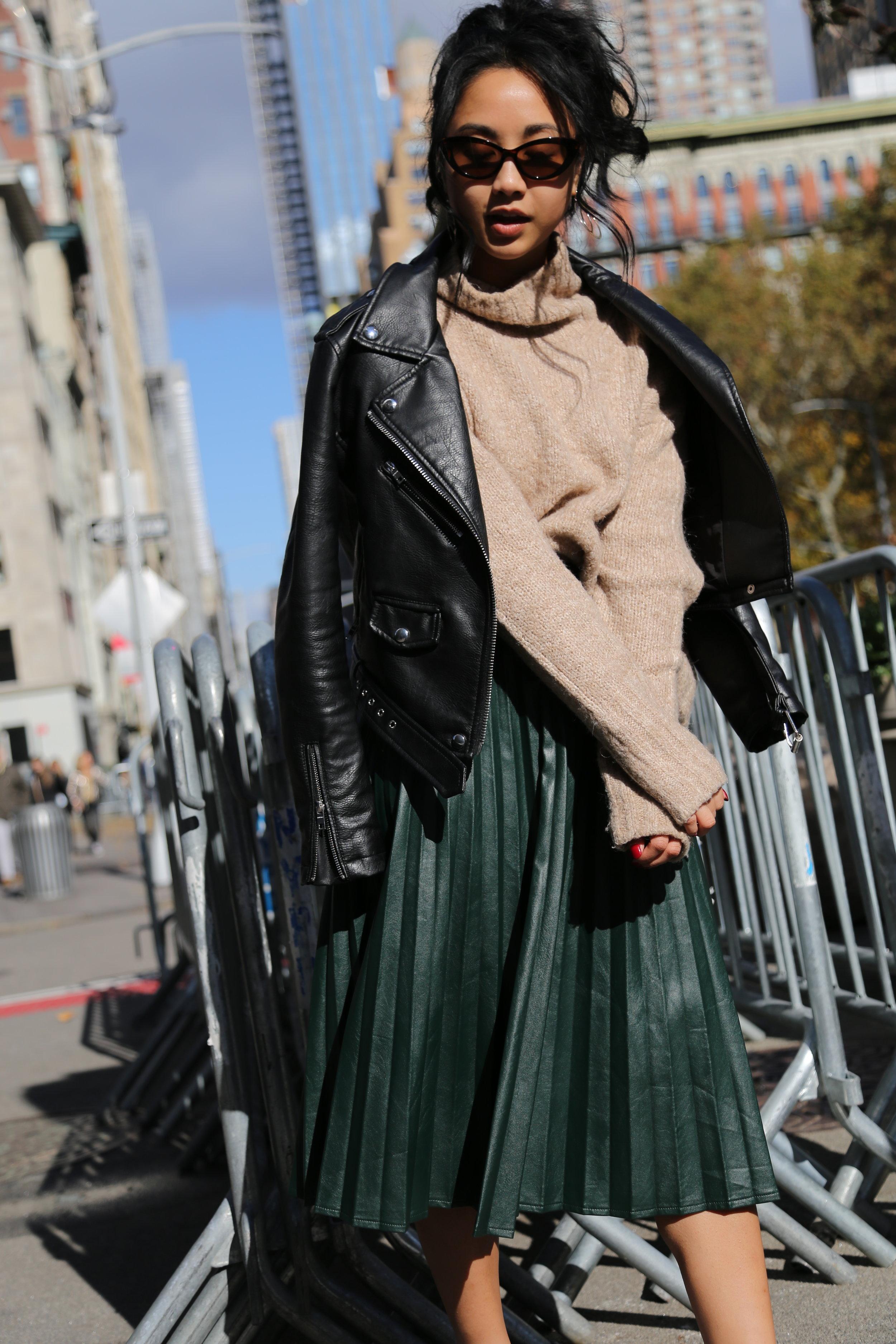 Bershka faux leather jacket // H&M sweater // Zaful skirt // Adidas sneakers  Photography by  Kit Michele