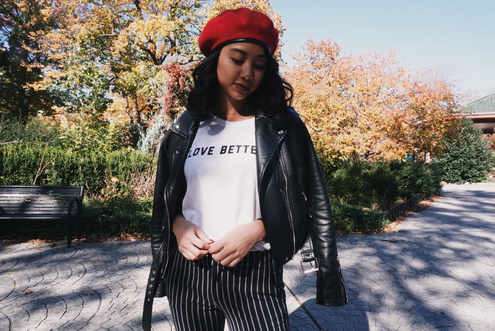 Social Sunday BK    tee // Zara pants via Crossroads Trading // Bershka leather jacket // Asos beret    Photography by    Anika Fanlo