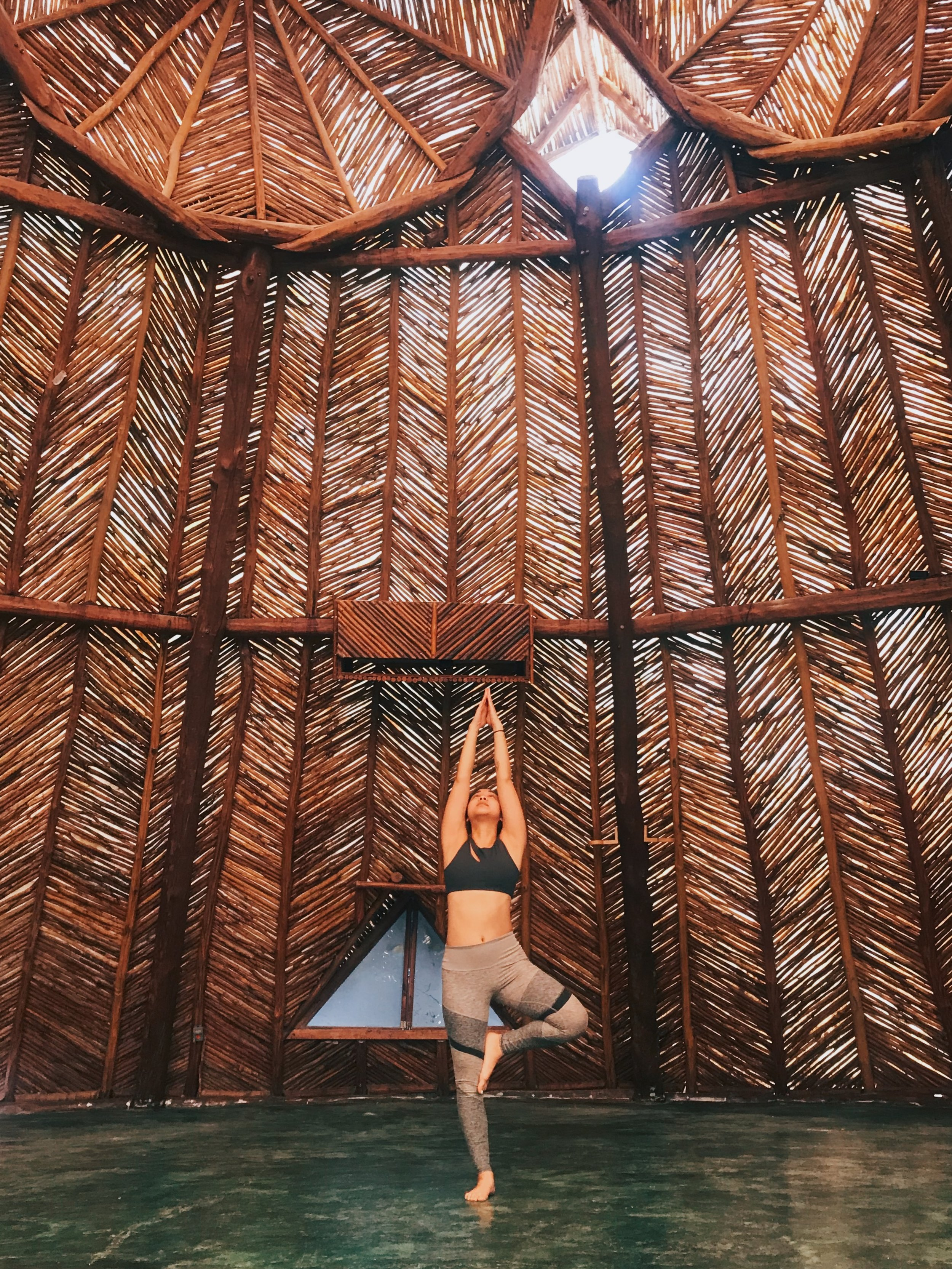 Morning yoga at Azulik