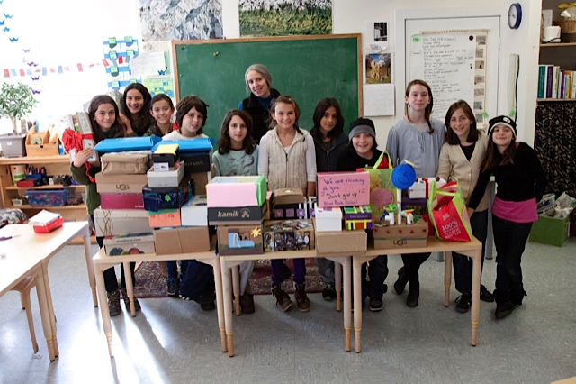 Sixth graders lovingly assembled care packages for youth victims of Hurricane Sandy.