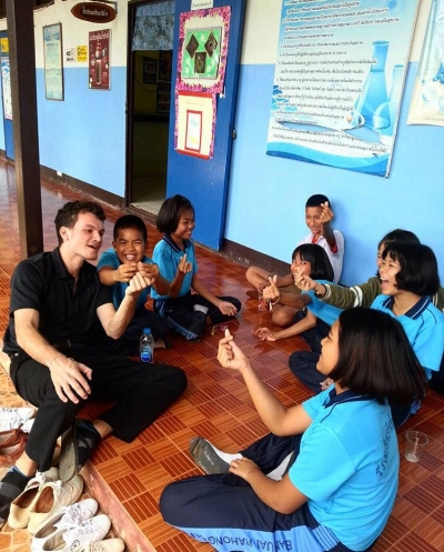 Nikolai Stern teaching English in Thailand for the past two years as part of the Peace Corp