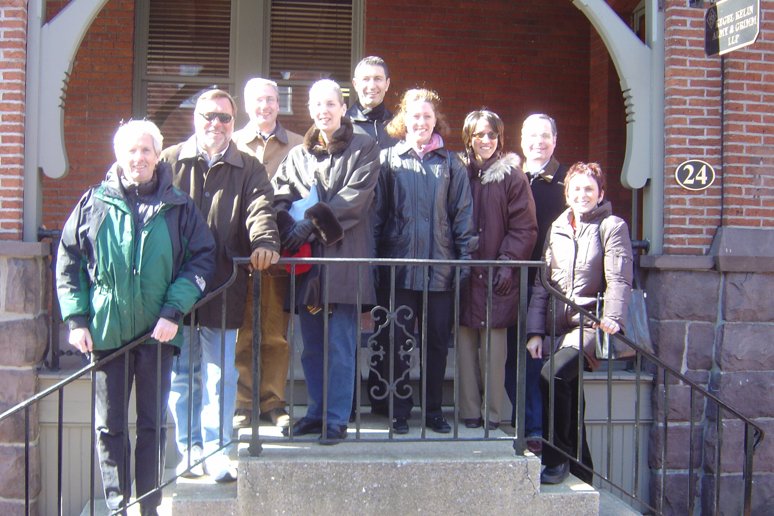 Initial Meeting of Americleft Orthodontic Group Participants at Original Lancaster Cleft Palate Clinic, Lancaster, PA, February 2006    From left to right: W. Shaw, R. Long, E. Howard, M. Cohen, J. Daskalogiannakis, K. Russell, A. Mercado, R. Hathaway, G. Semb
