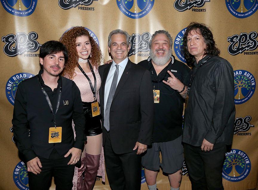 Alex Vallejo, Lesly Reynaga, Austin Mayor Steve Adler, Jeff Miller, Gavin Garcia  (Gary Miller photo)