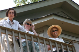 Cynthia, Debbie and Anita admire view from Dave Jacobs upper deck
