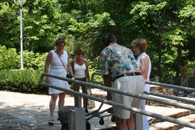 Ron wheels in Woodland Garden stone marker