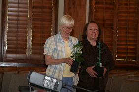 October door prize winners Annette Frauman and Patty Friedman