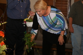 October door prize winner Judy Jenkins