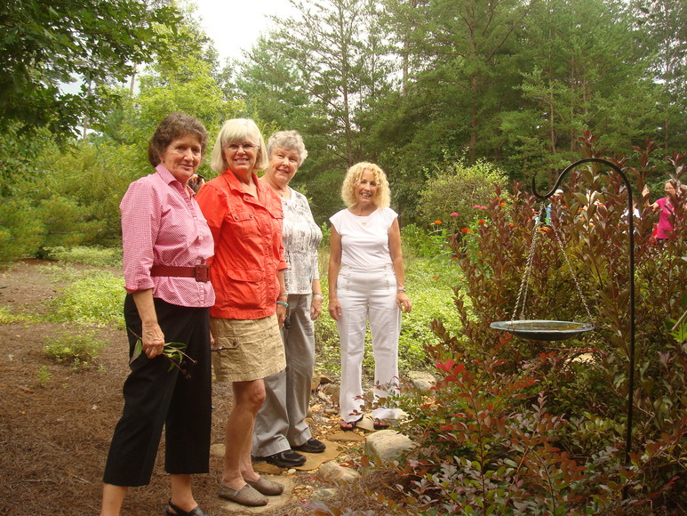 ...and admiring the Rosens' garden