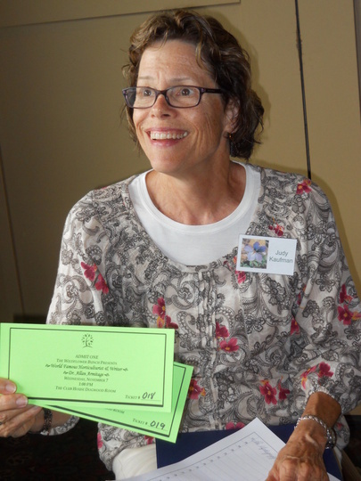 Judy with door passes for Nov. mtg