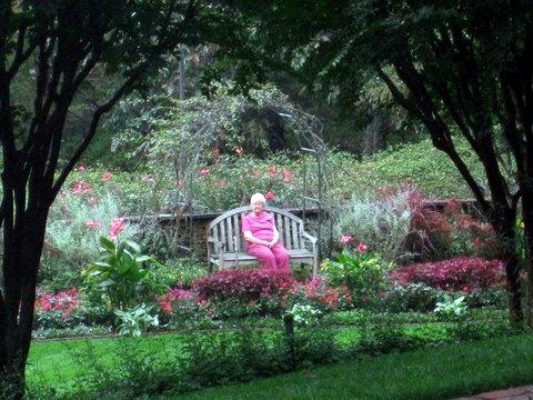 Touring Gibbs Gardens, framed in pink