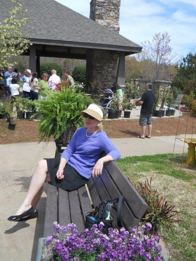 Another success at the Plant Sale – Susan Phillips posing for Ann Ripley