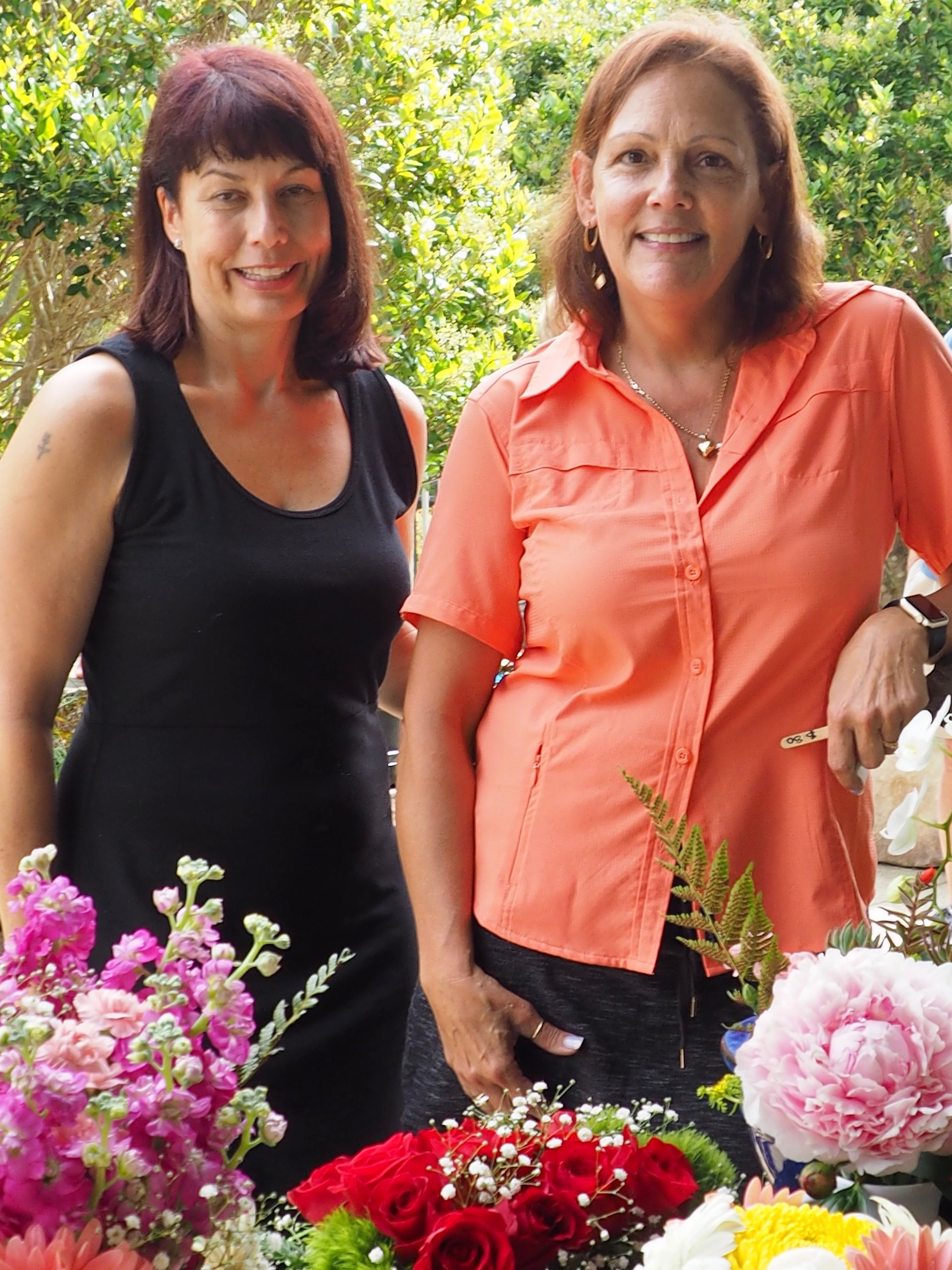Garden Divas Dalia Lavender and Claudia Kindred shared tips and brought beautiful bouquets and container plants.