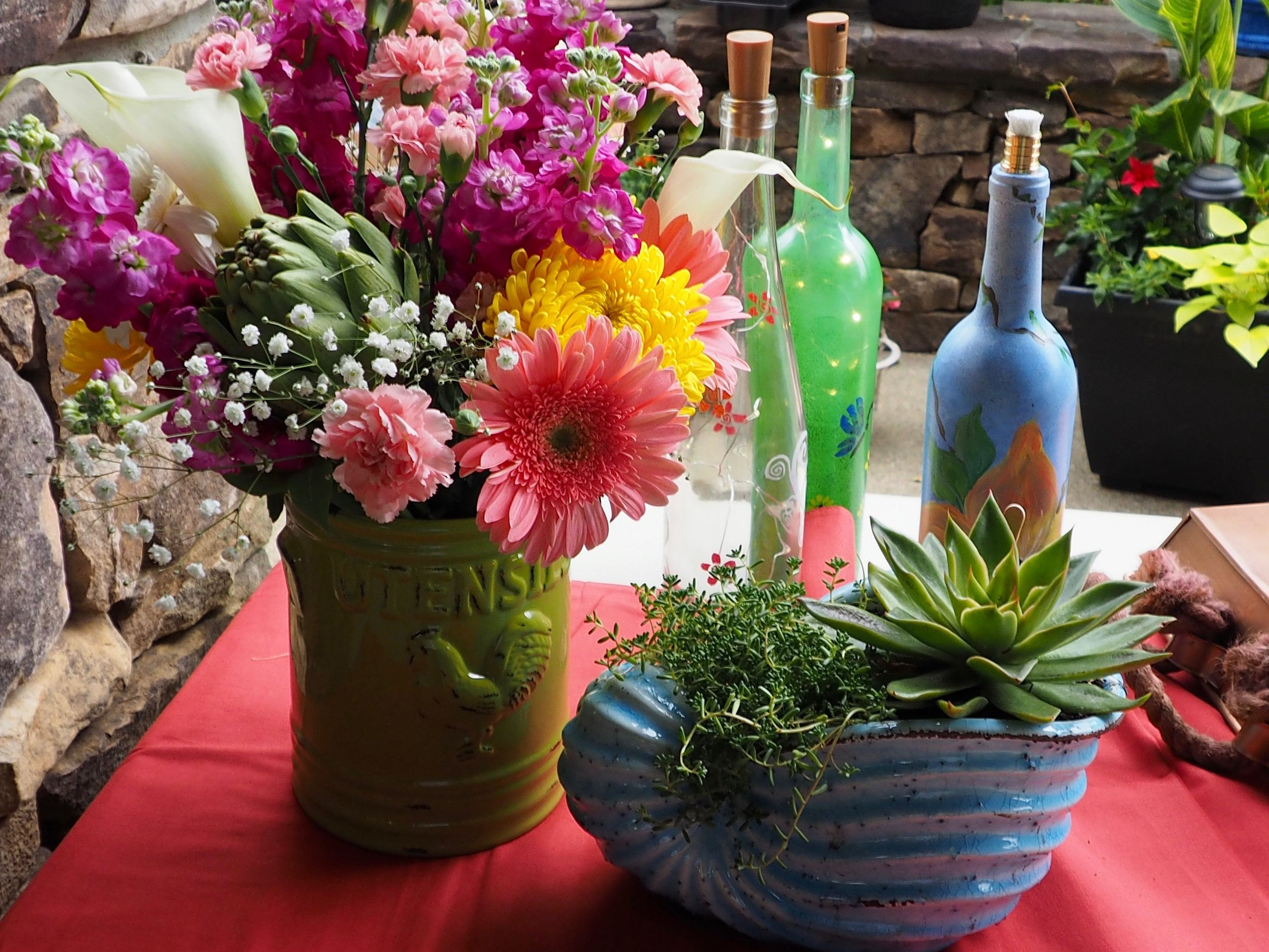 May's meeting was all about beautiful container gardens and cut flower arrangements.