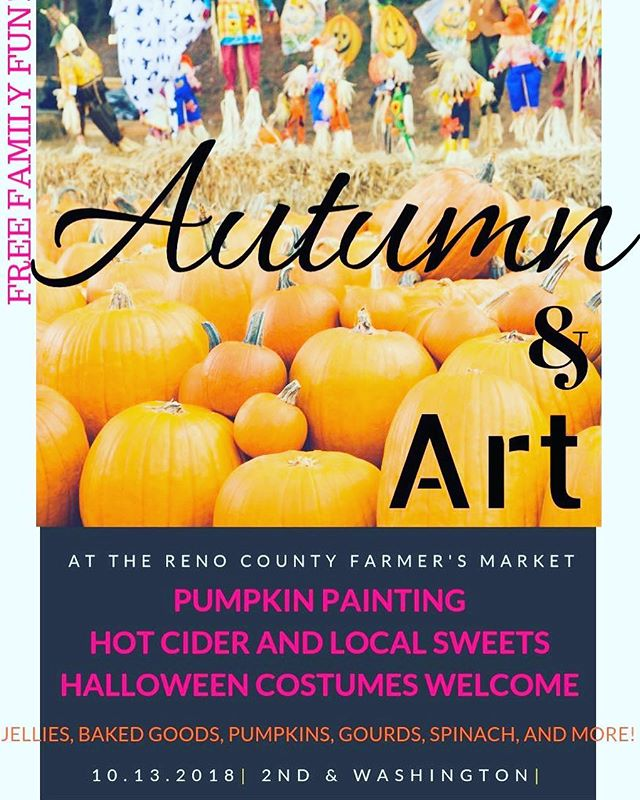 🍪☕🎃🥦🍂🍁___________________________________  There's only TWO Farmer's Market Saturdays left in this season! We're celebrating the end of a good year with... ___________________________________ ****AUTUMN AND ART**** ___________________________________ Kids (and big kids too!), come in your Halloween costumes ready to paint pumpkins, drink cider, eat sweet treats from our local bakers, and have fun!  ___________________________________ And the best part? This awesome FAMILY FRIENDLY fall event is FREE! We've got JELLIES, BAKED GOODS, PUMPKINS, GOURDS, SPINACH, AND MORE!  ___________________________________ ~Live Music~ Dale Conkling, 9am to 11am. ___________________________________ #FarmersMarket #RenoCountyFarmersMarket #Hutchinson #Kansas #EventsNearMe #FreeEvents #Fall #Winter #Summer #ShopLocal #EatLocal #Hutchinfun #SmallBusiness