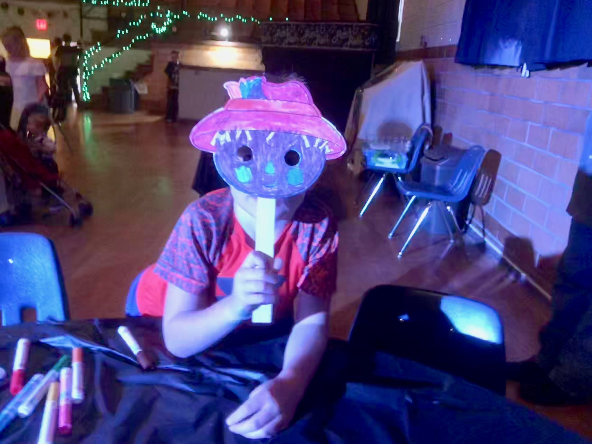 Scarecrow mask made at our children's crafts tables at the Family Sock Hop - Sept '18