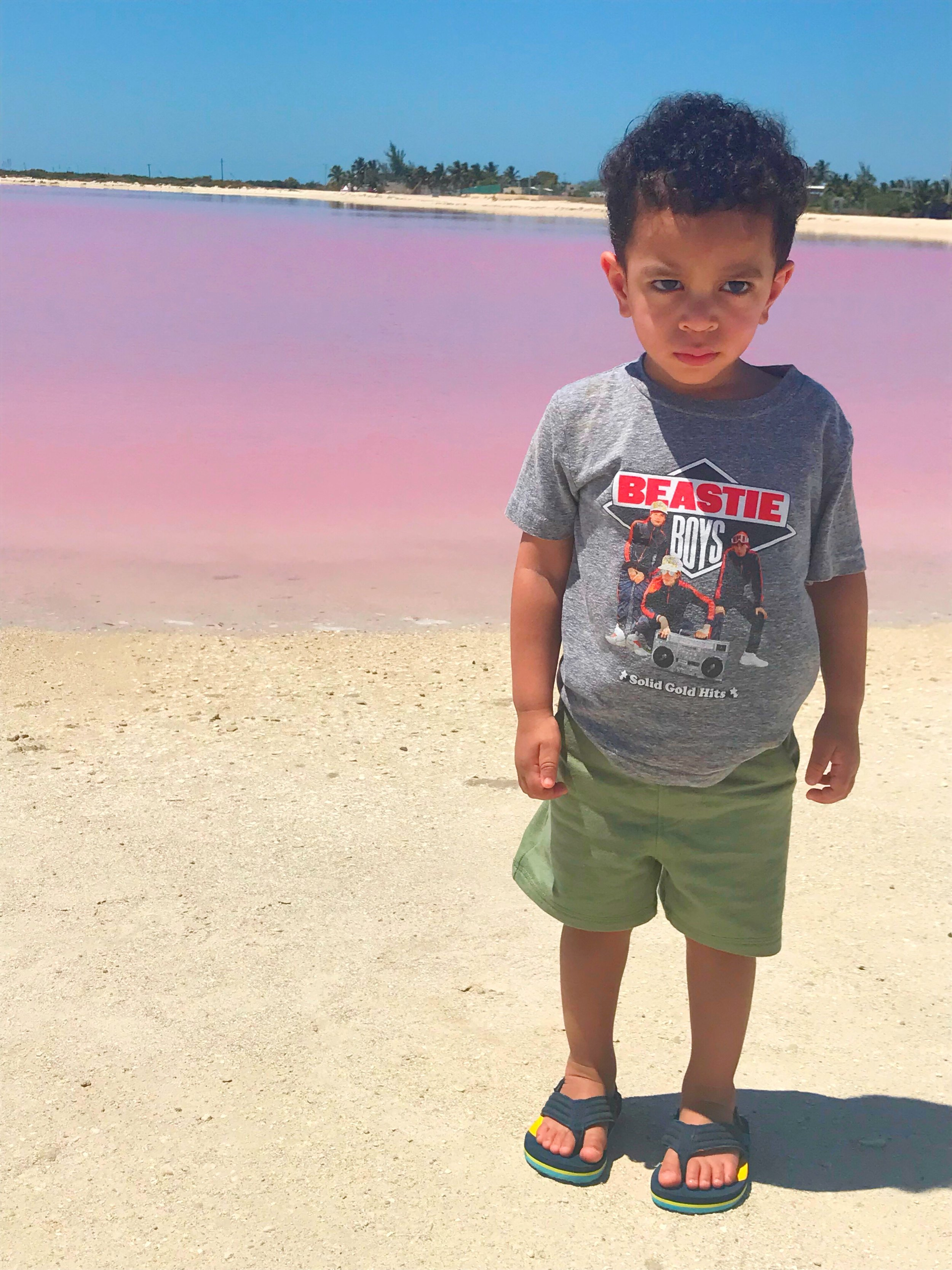 """This is Nasi's """"I'm really mad that I can't play in the pink water"""" face."""