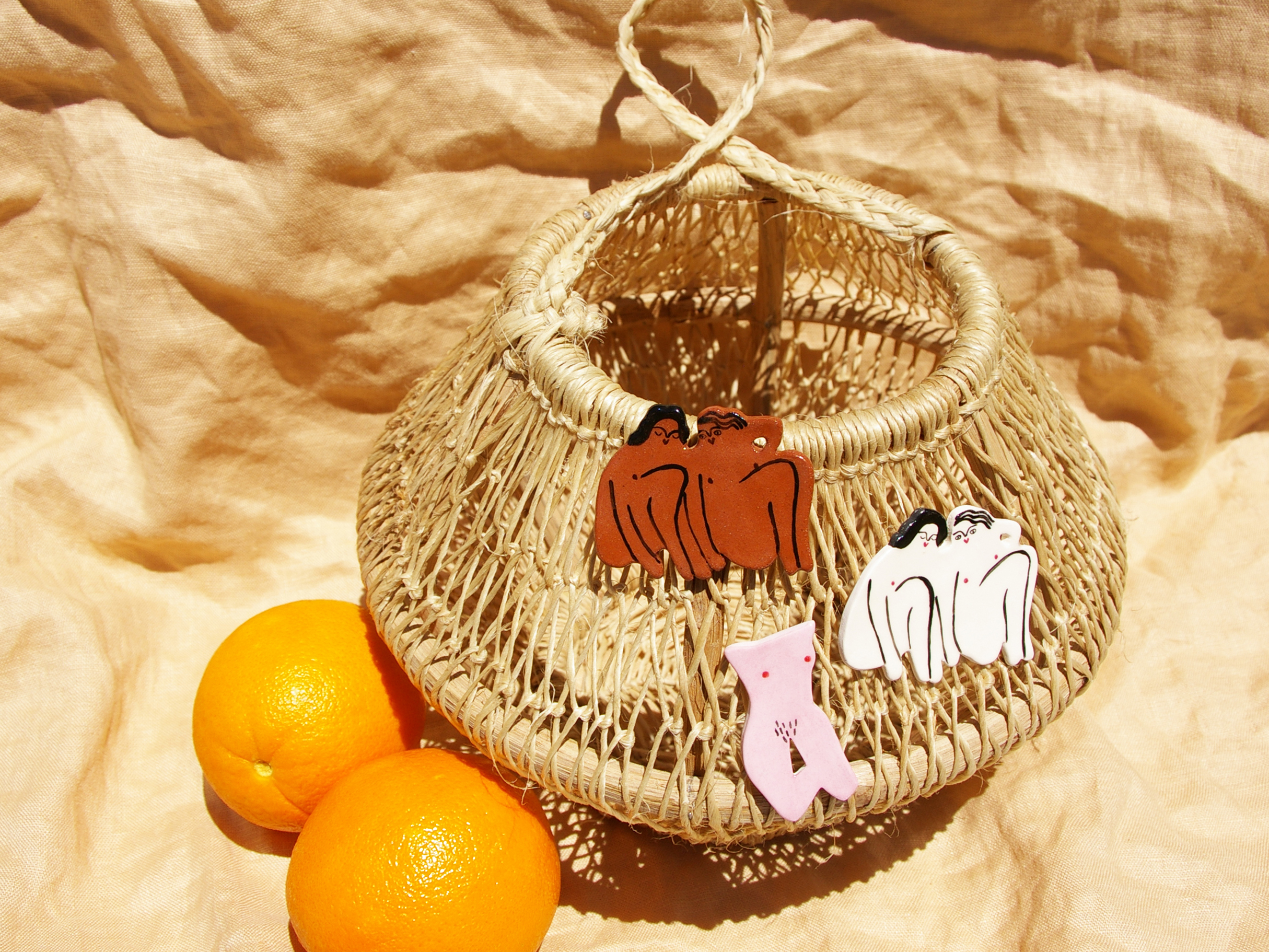 Liv & Dom brooches on Hecho egg basket