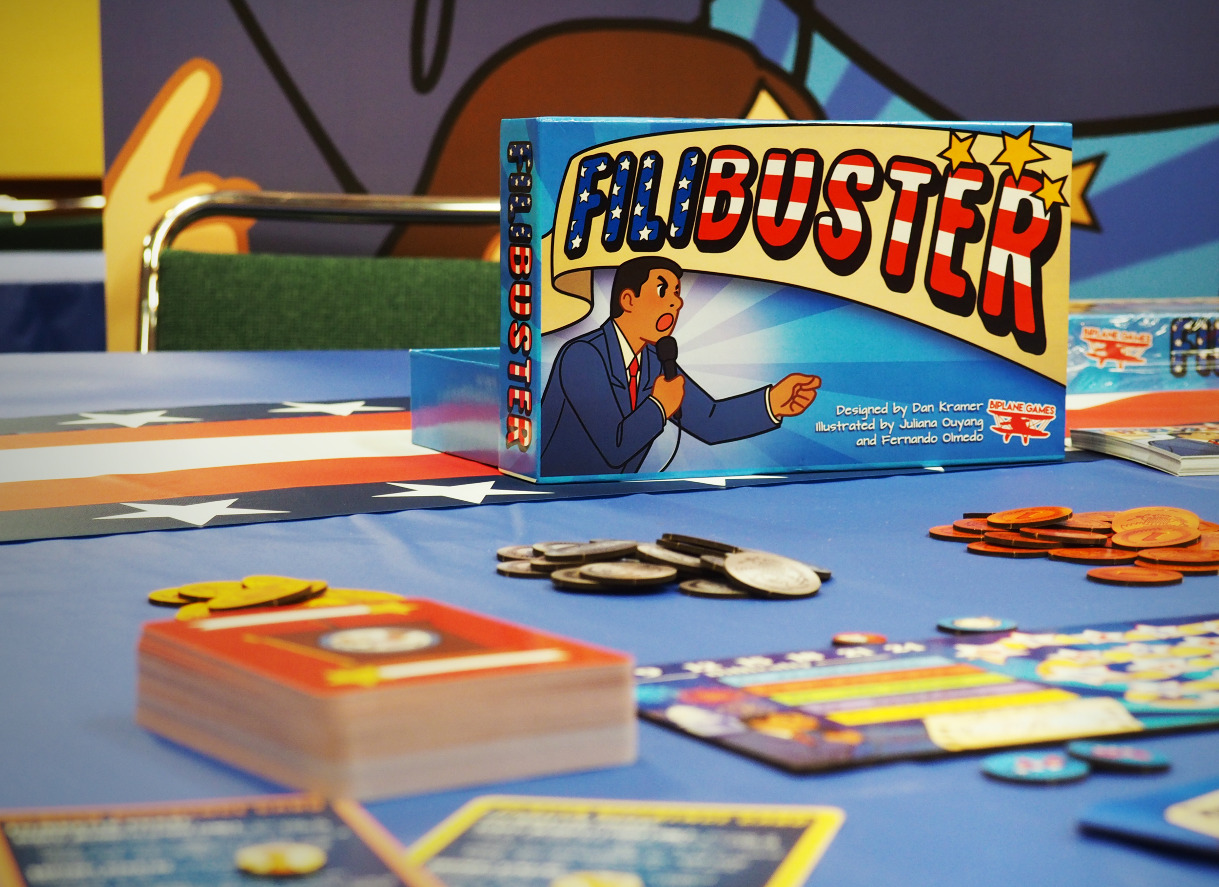 Filibuster is a semi-cooperative game for 3-5 players taking on the role of Senators in a minority party trying to stop a series of silly policies from passing. - Players balance between helping the group and working together to block policies against their own personal goal of earning the most influence (points) through their actions.The game features charming and tongue-in-cheek art, interesting twists on traditional mechanics, and a variety of cards and actions for the players to control how cooperatively (or antagonistically!) they work with each other.