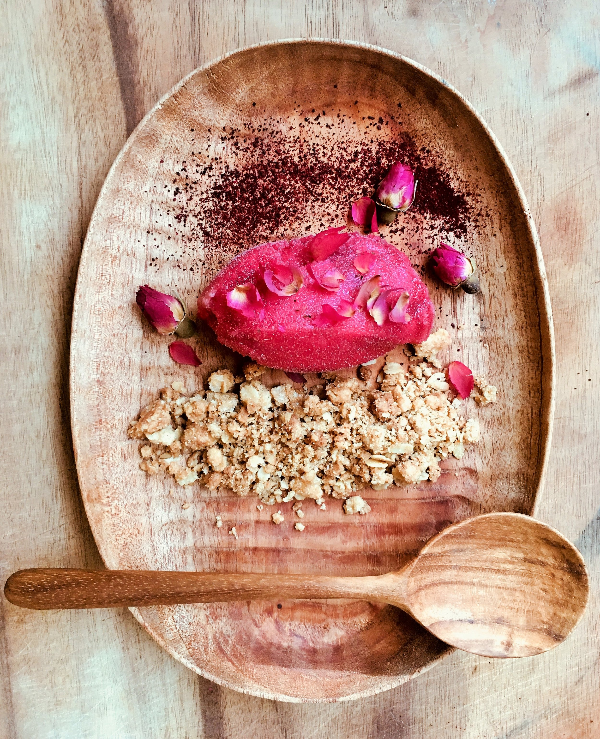 Davidson plum and rose sorbet w/ powdered sour plums and sweet cinnamon crumble
