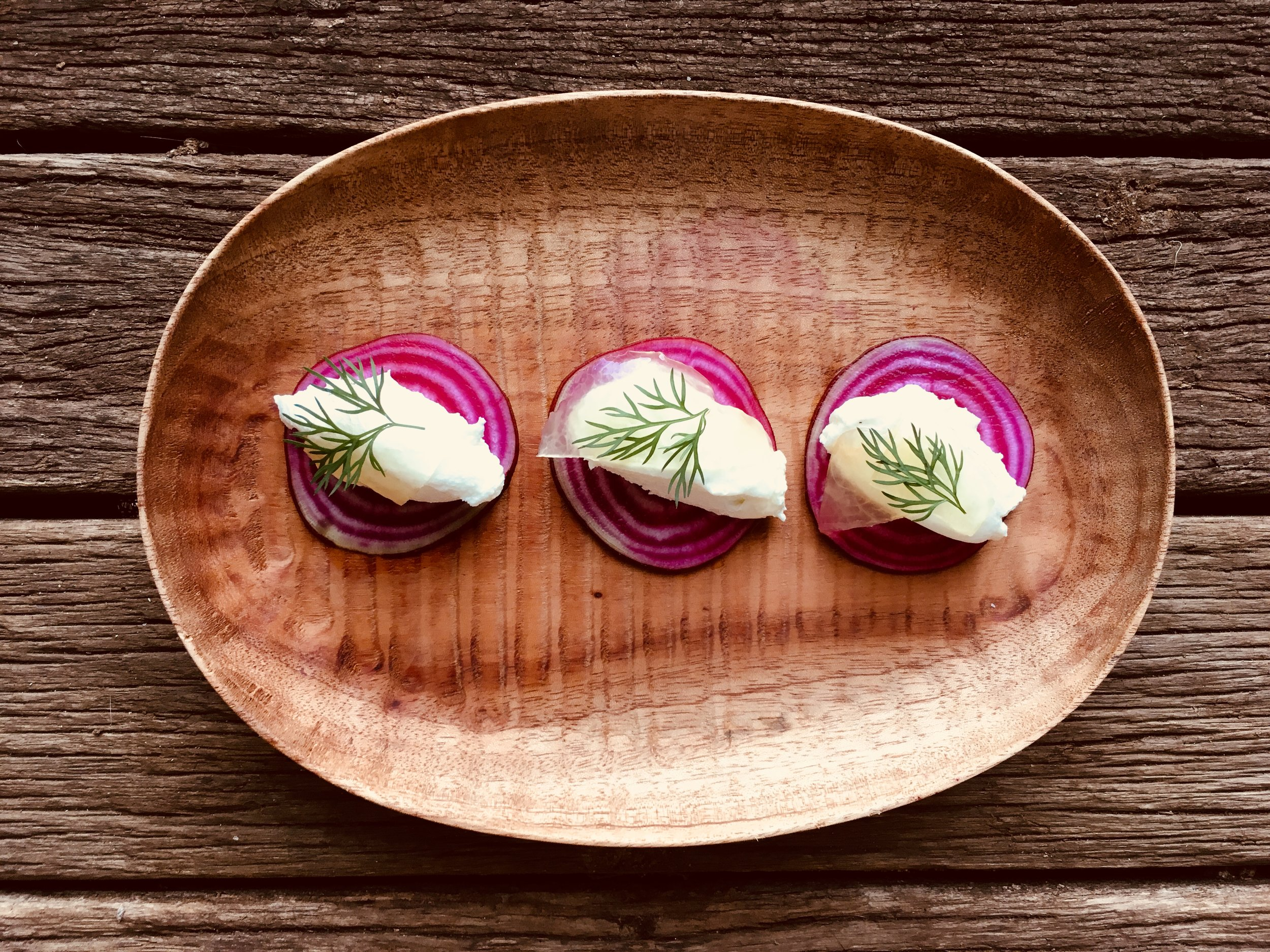 heirloom beetroot with watermelon pickle and whipped goats cheese.JPG