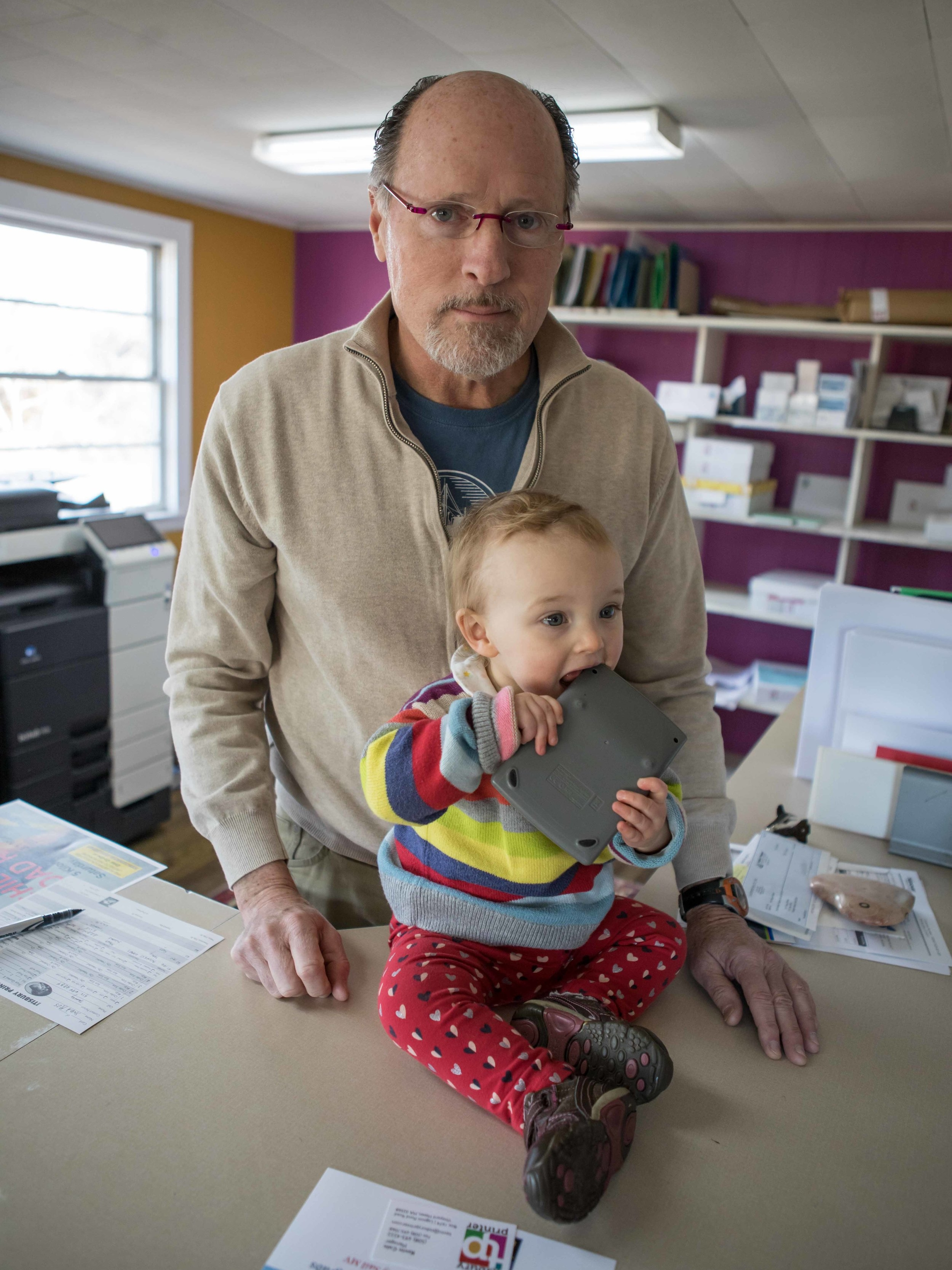 Chris Decker - The Original Tisbury Printer.Owner Chris has been steering the ship since 1978. Over the past 40 years he's watched the world of print evolve dramatically. One thing hasn't changed: his passion for helping customers bring their ideas to life. He loves what is does — however, his granddaughter Lilou looks about ready to take over the family business.Email Chris ➝