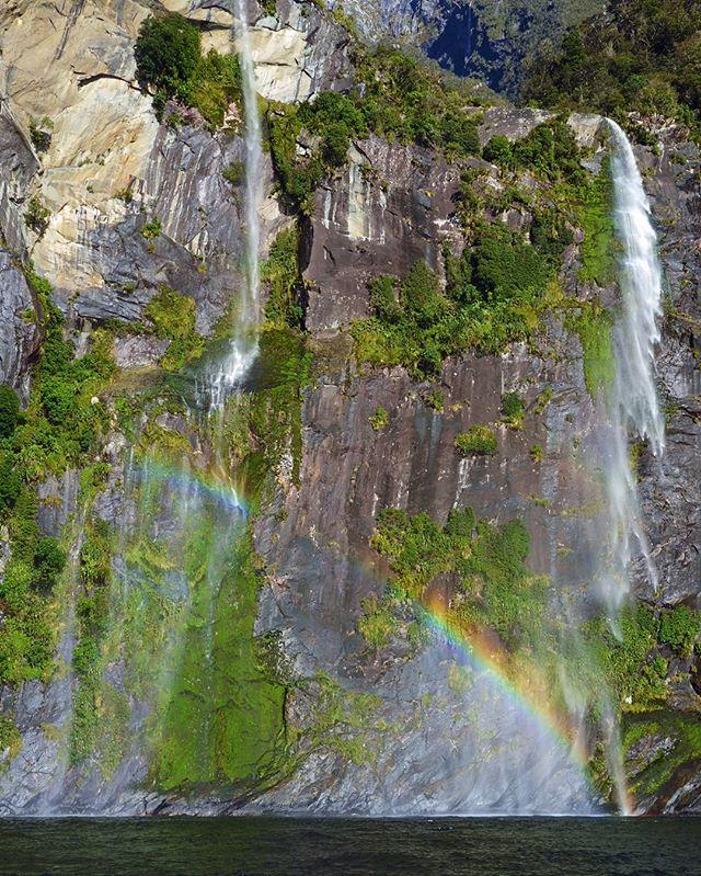 Fairy Falls June magic with snowy Mitre Peak looming in the background. . . . . . #nzmustdo #milfordsound #fiordland #nature #travel #southislandnz #milfordsoundnz #awakentheexplorer #rainbow🌈 #waterfalls
