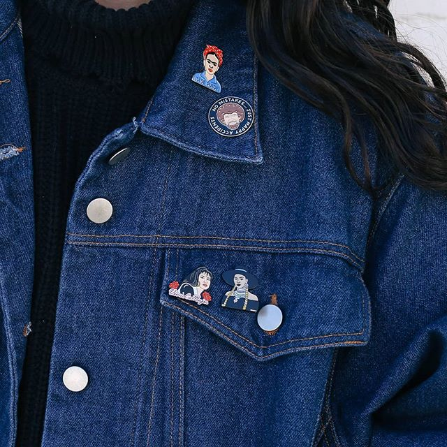 Come snag that Levi's jacket you've been eyeing to deck it out with some of our enamel pins by @thefound 😍 All of our jackets and sweaters will be Buy One Get One 50% off tomorrow through Sunday!