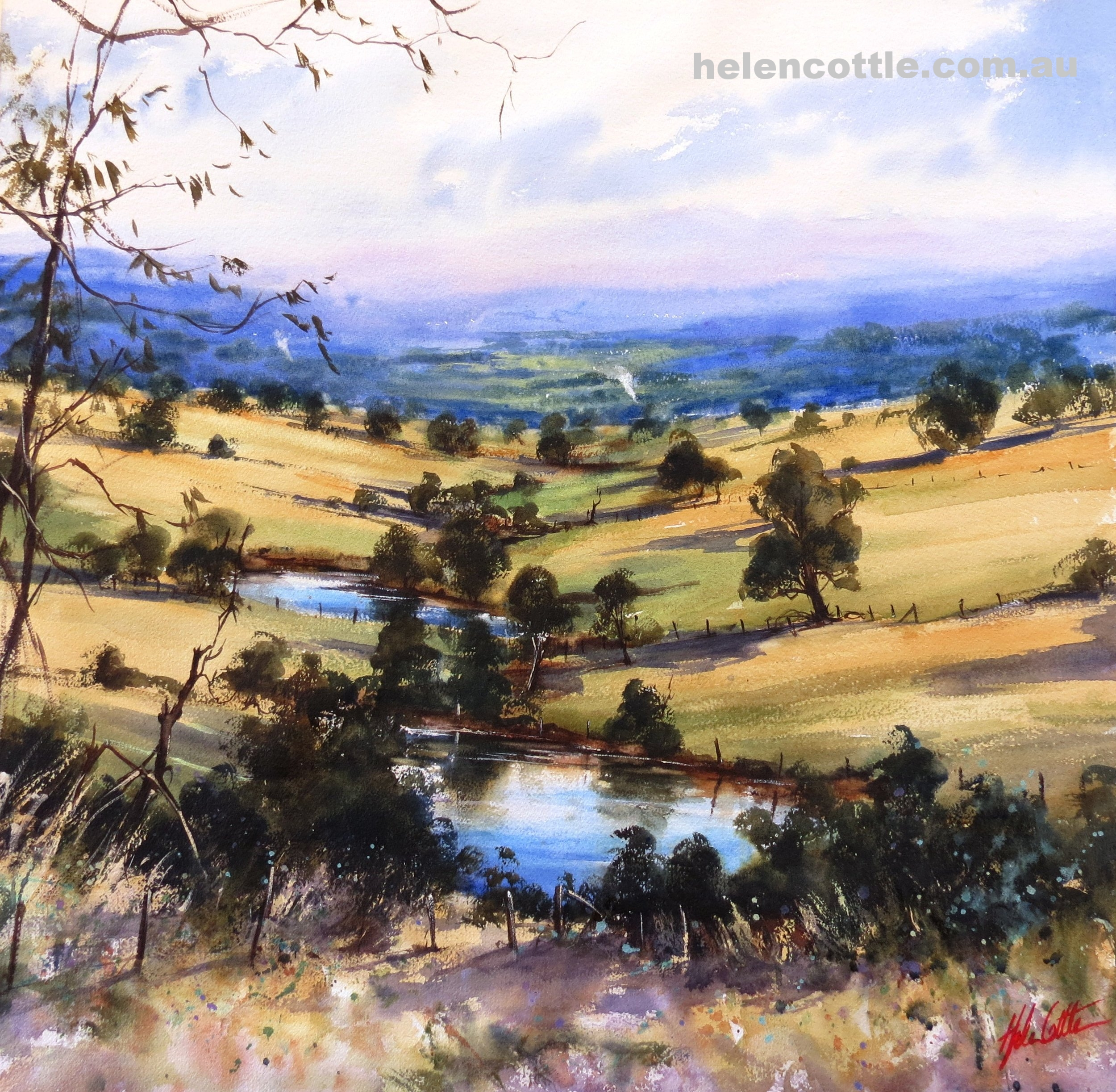 8. AUGUST Quiet valley Macedon Ranges vic watercolour on Arches Paper 62x62cm By Helen Cottle.JPG