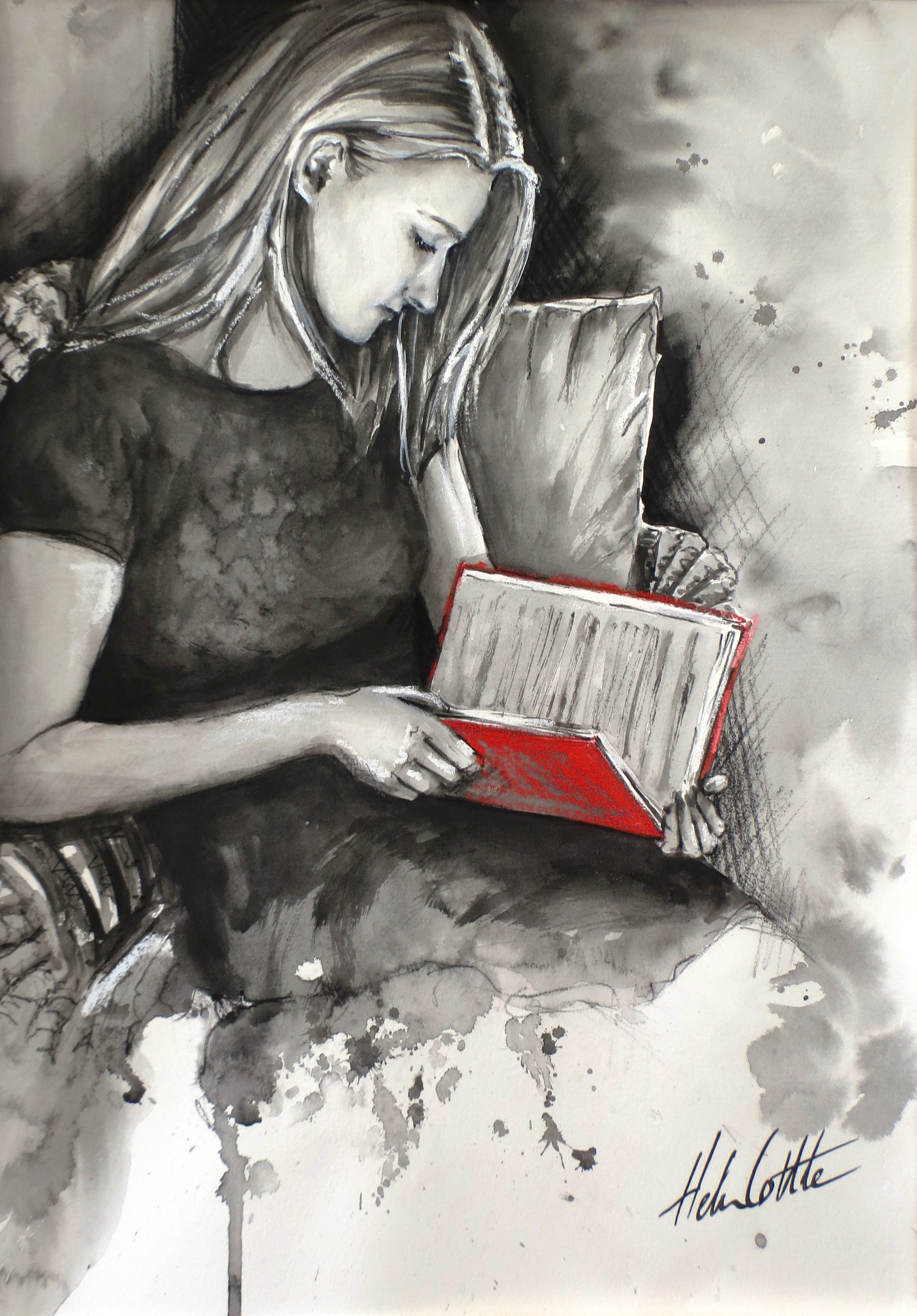 The Red Book Watercolour,Gouache and Pastel 24x36cm by Helen Cottle.JPG