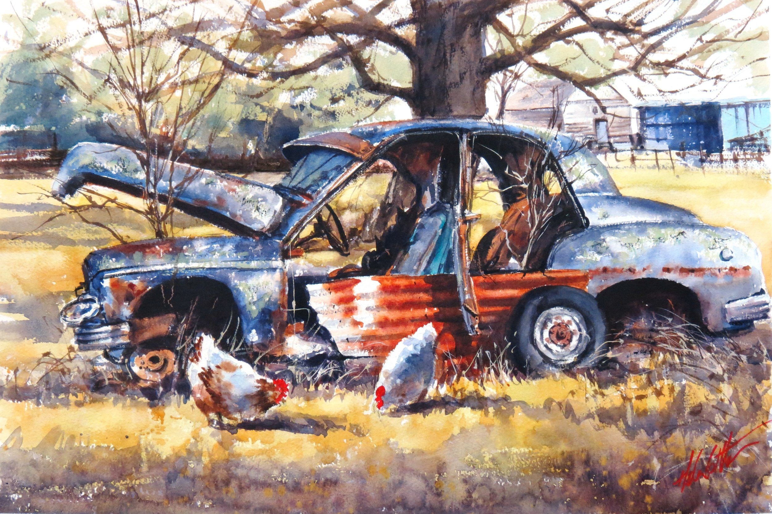The Chicken Coupe!  WC 55x36cm.JPG