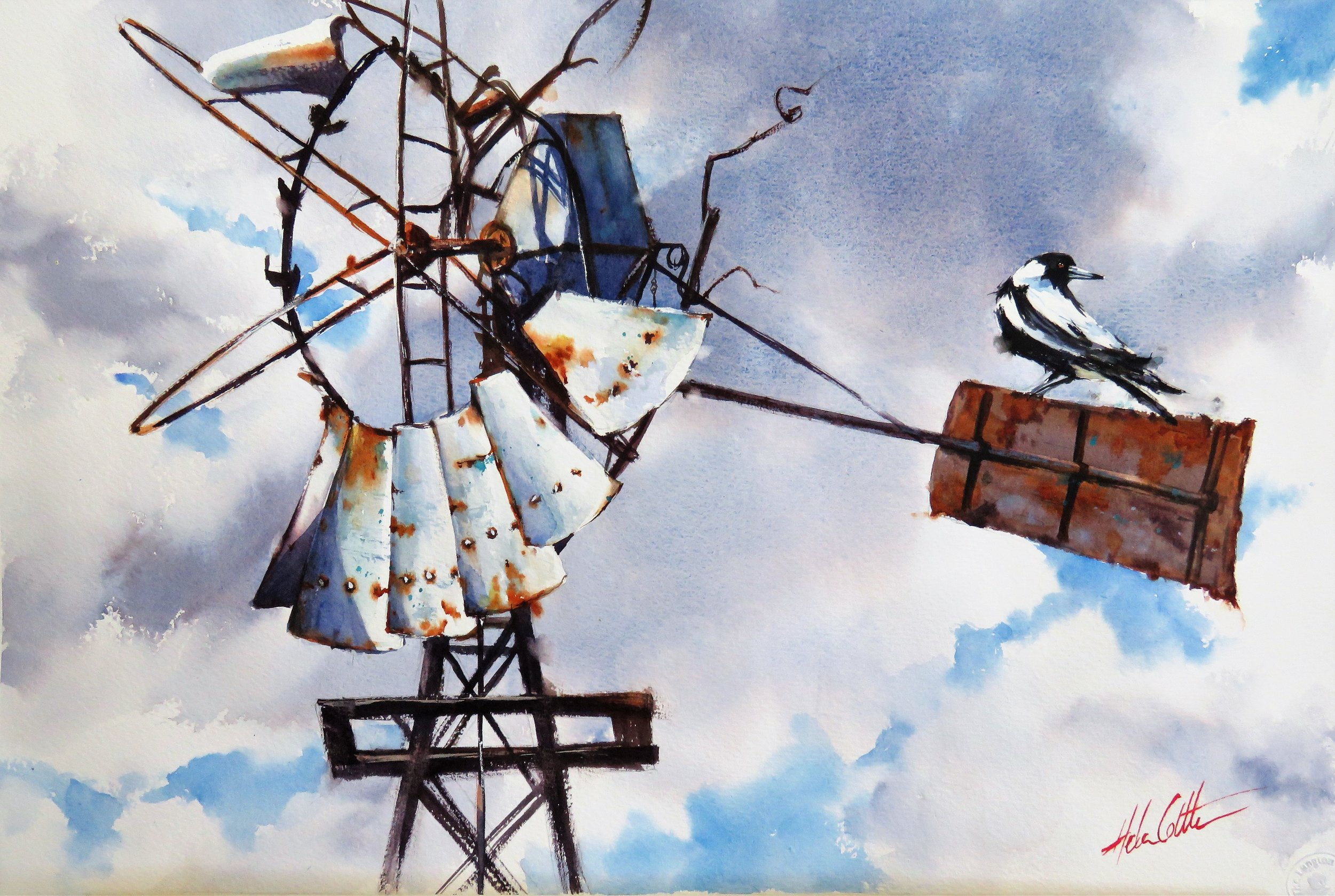 SEEN BETTER DAYS WATERCOLOUR 36X54CM BY HELEN COTTLE.JPG