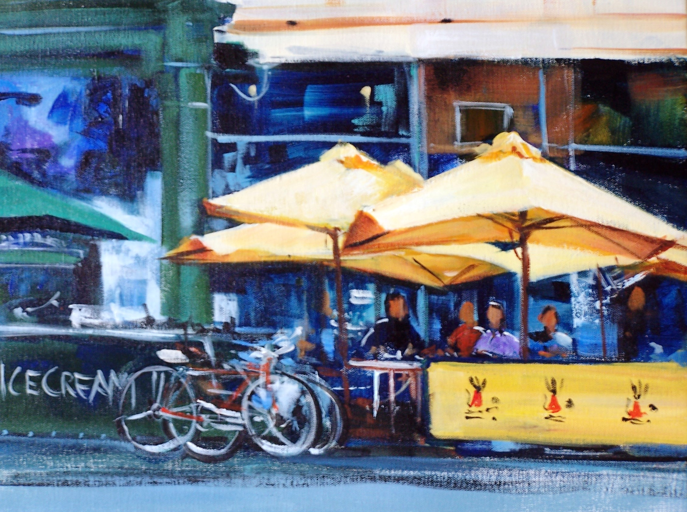 YELLOW UMBRELLAS, WILLIAMSTOWN. ACRYLIC 35X28.JPG