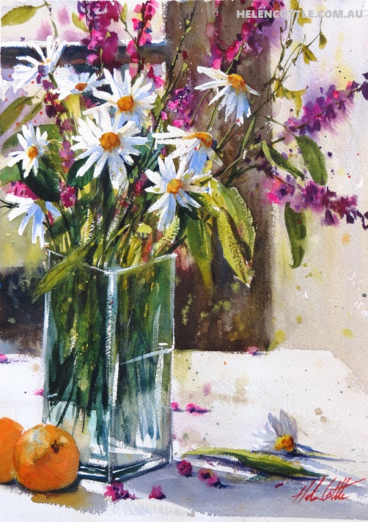 Still life with daisies Watercolour 34x26 By Helen Cottle COPY.jpg