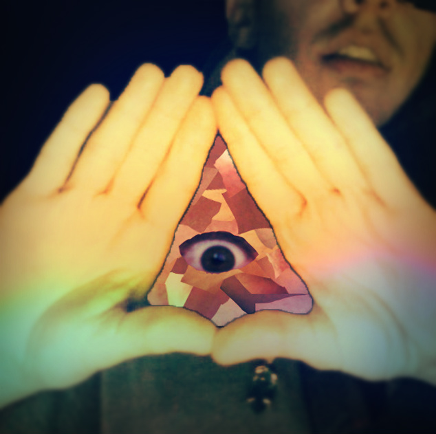 Enlightened. The triangle is made out of my skin tone, hair color and lip color. The eye is my own
