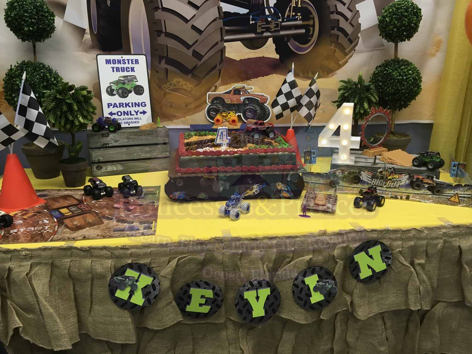 Monster Truck Themed  4 Year Old Boy's Birthday Party Orlando