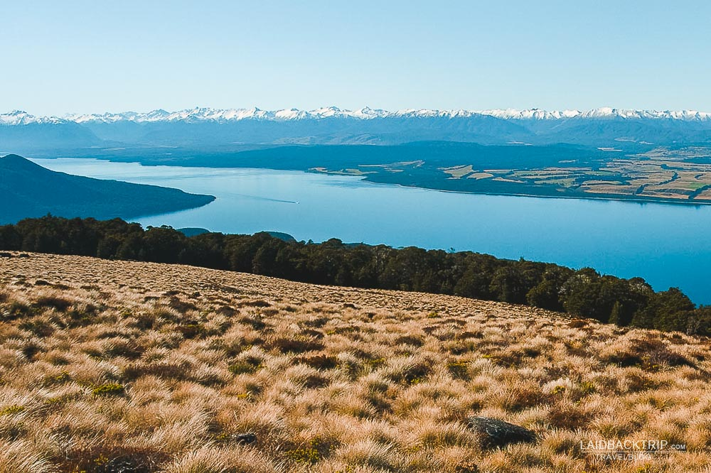 View of Lake Te Anau in Fiordland as seen from Kepler Track