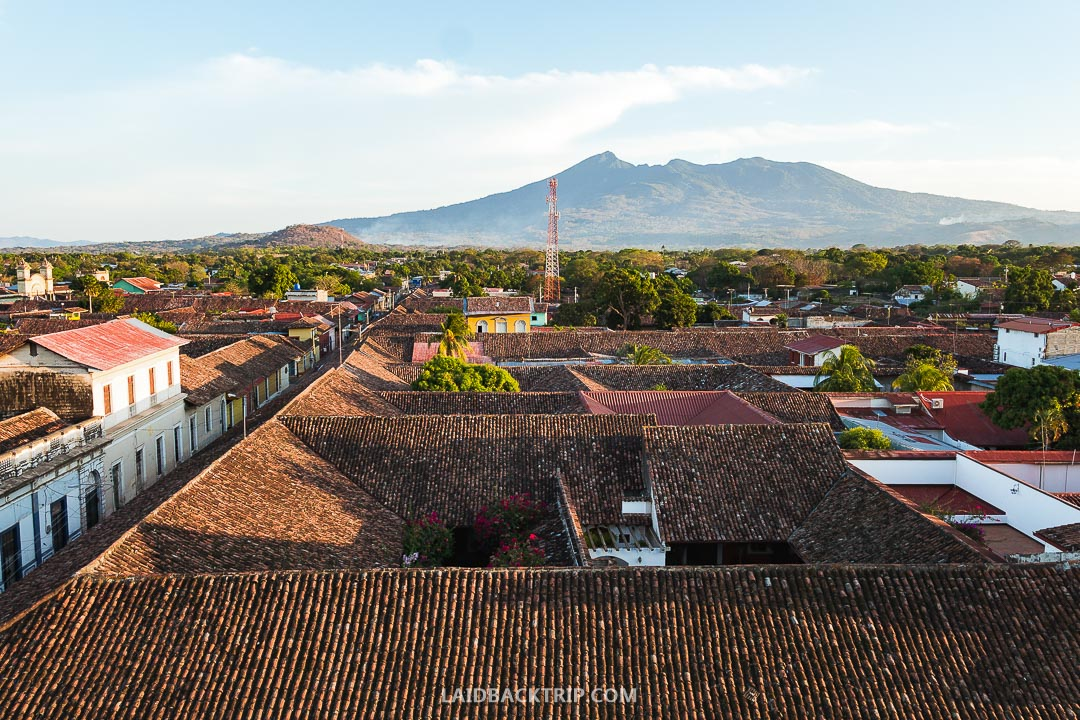 You can see the surrounding volcanoes from the church tower in Granada.